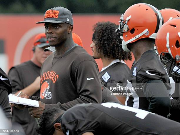 Wide receiver Josh Gordon of the Cleveland Browns watches drills during a training camp on July 29 2016 at the Cleveland Browns training complex in...