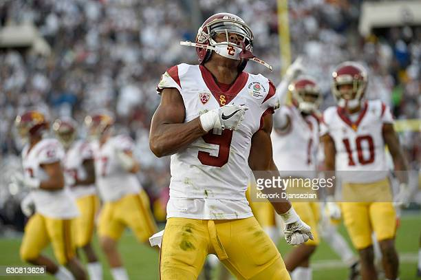 Wide receiver JuJu SmithSchuster of the USC Trojans reacts in the first half while taking on the Penn State Nittany Lions during the 2017 Rose Bowl...