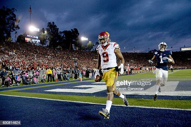 Wide receiver JuJu SmithSchuster of the USC Trojans scores a 13yard touchdown in the third quarter against the Penn State Nittany Lions during the...