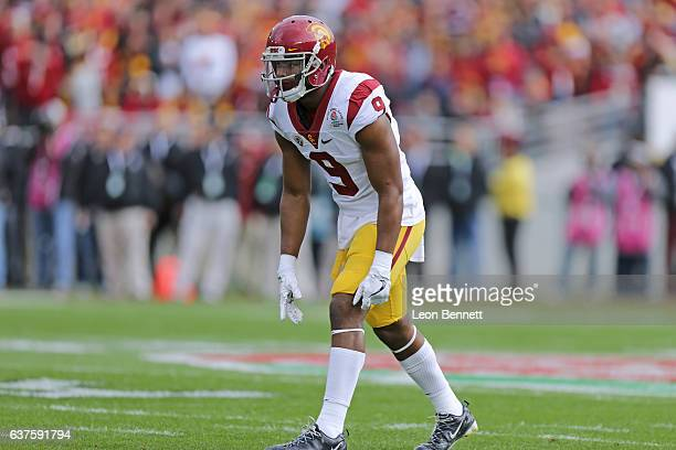 Wide receiver JuJu SmithSchuster of the USC Trojans surveys the defense against the Penn State Nittany Lions in the 2017 Rose Bowl Game presented by...
