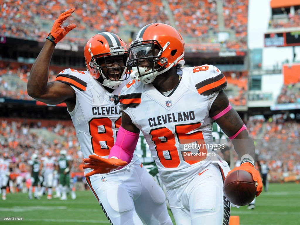 Wide receiver Kasen Williams #82 and tight end David Njoku #85 of the Cleveland Browns celebrate a touchdown reception by Njoku in the third quarter of a game on October 8, 2017 against the New York Jets at FirstEnergy Stadium in Cleveland, Ohio. New York won 17-14.