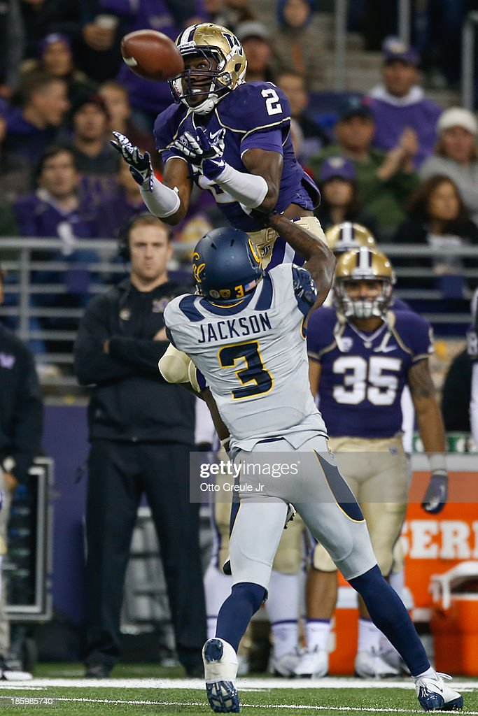 Wide receiver Kasen Williams #2 of the Washington Huskies can't make the catch against cornerback Kameron Jackson #3 of the California Golden Bears on October 26, 2013 at Husky Stadium in Seattle, Washington.