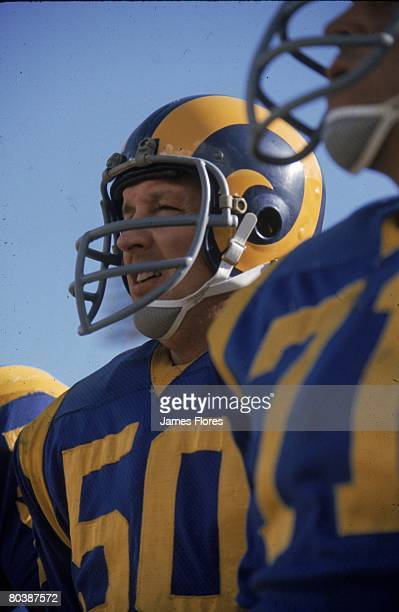 Wide receiver Ken Iman of the Los Angeles Rams watches from the sideline in an NFL game against the Atlanta Falcons at the Los Angeles Memorial...