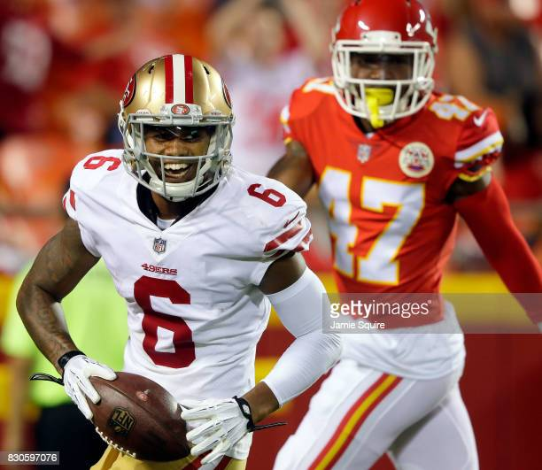 Wide receiver Kendrick Bourne of the San Francisco 49ers smiles after catching a pass for a touchdown during the preseason game against the Kansas...
