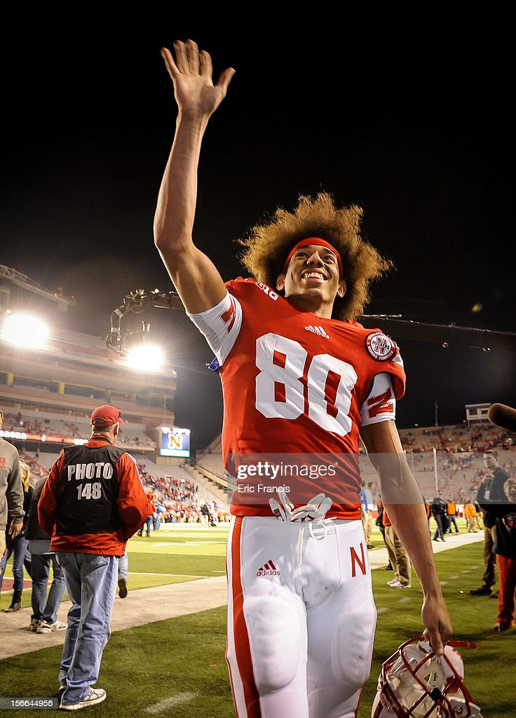 Wide receiver Kenny Bell #80 of the Nebraska Cornhuskers waves to Husker fans after their game against Minnesota Golden Gophers at Memorial Stadium on November 17, 2012 in Lincoln, Nebraska. Nebraska won 38-14.