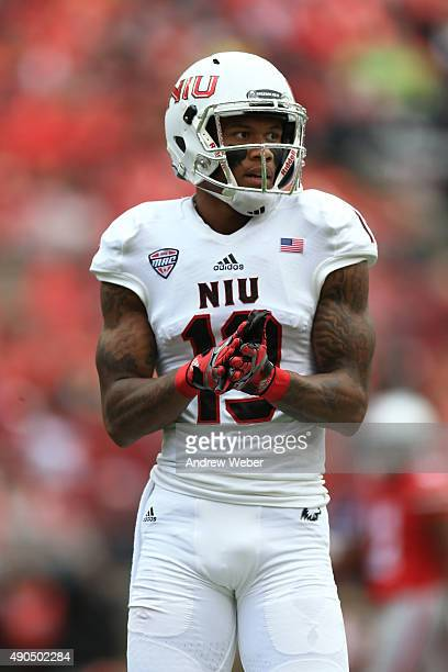 Wide receiver Kenny Golladay of the Northern Illinois Huskies against the Ohio State Buckeyes at Ohio Stadium on September 19 2015 in Columbus Ohio