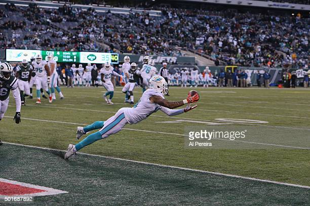 Wide Receiver Kenny Stills of the Miami Dolphins dives for a ball in the end zone against the New York Jets at MetLife Stadium on November 29 2015 in...