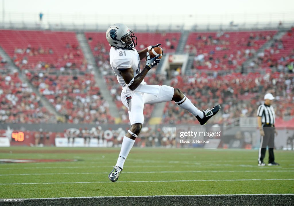Wide receiver Kyle Anthony #81 of the Howard Bison makes a touchdown reception against the UNLV Rebels during their game at Sam Boyd Stadium on September 2, 2017 in Las Vegas, Nevada.