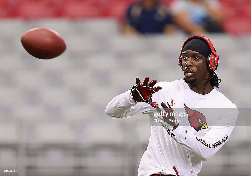 Wide receiver LaRon Byrd #17 of the Arizona Cardinals warms up before the NFL game against the St. Louis Rams at the University of Phoenix Stadium on November 25, 2012 in Glendale, Arizona.