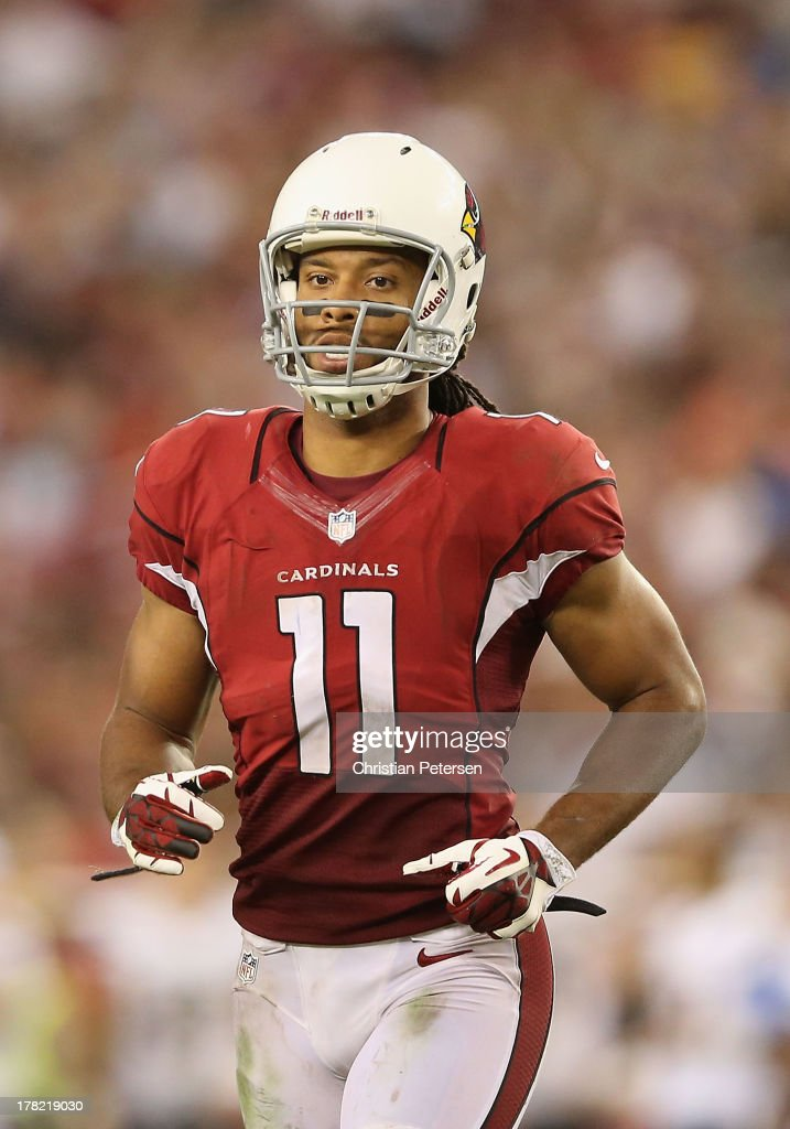 Wide receiver Larry Fitzgerald #11 of the Arizona Cardinals during the preseason NFL game against the San Diego Chargers at the University of Phoenix Stadium on August 24, 2013 in Glendale, Arizona.