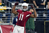 Wide receiver Larry Fitzgerald of the Arizona Cardinals reacts after making a catch during the third quarter of the NFC Divisional Playoff Game at...