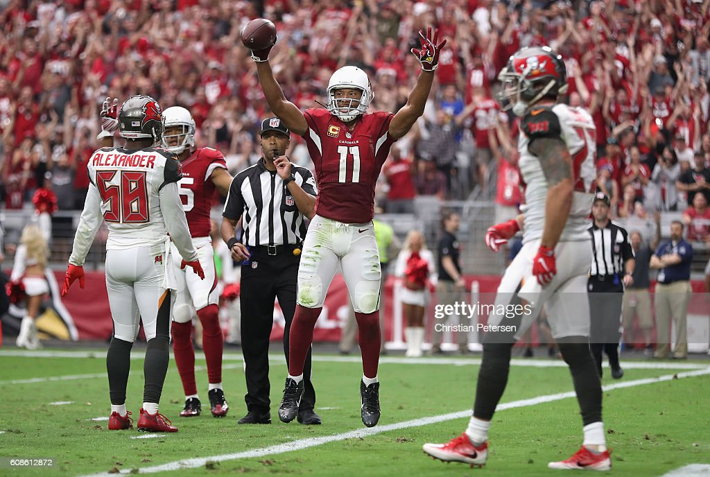 Wide receiver Larry Fitzgerald #11 of the Arizona Cardinals reacts after a first down reception against the Tampa Bay Buccaneers during the second quarter of the NFL game at the University of Phoenix Stadium on September 18, 2016 in Glendale, Arizona. The Cardinals defeated the Buccaneers 40-7.