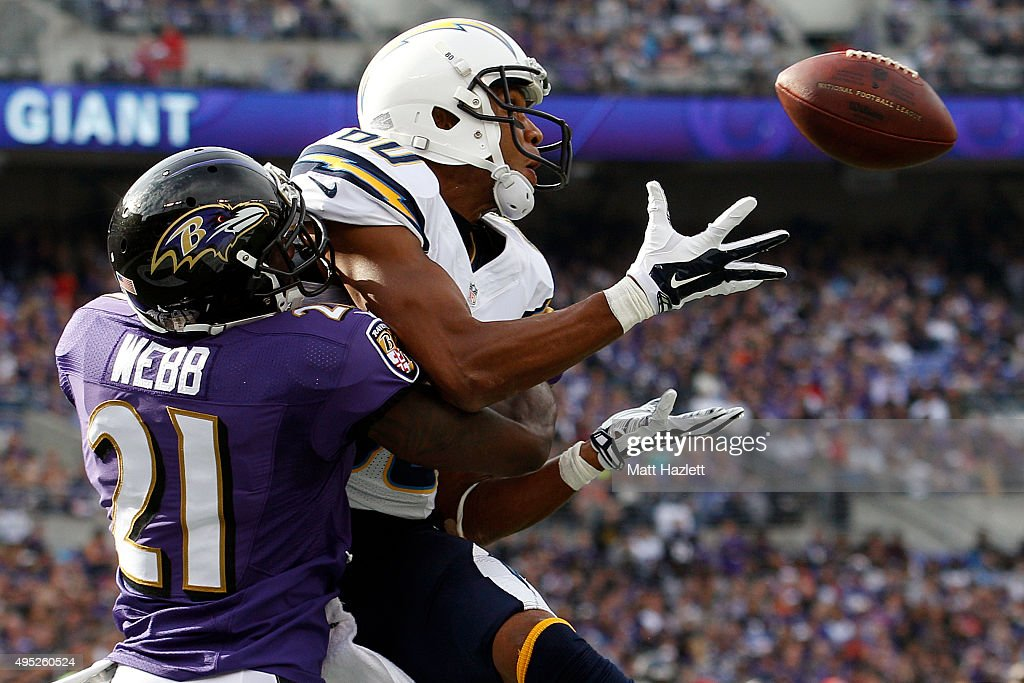 Wide receiver <a gi-track='captionPersonalityLinkClicked' href=/galleries/search?phrase=Malcom+Floyd&family=editorial&specificpeople=583121 ng-click='$event.stopPropagation()'>Malcom Floyd</a> #80 of the San Diego Chargers scores a second quarter touchdown past cornerback <a gi-track='captionPersonalityLinkClicked' href=/galleries/search?phrase=Lardarius+Webb&family=editorial&specificpeople=5735454 ng-click='$event.stopPropagation()'>Lardarius Webb</a> #21 of the Baltimore Ravens during a game at M&T Bank Stadium on November 1, 2015 in Baltimore, Maryland.