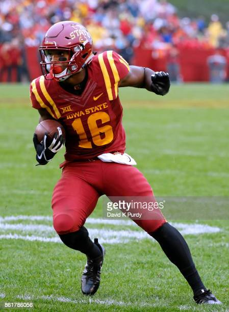Wide receiver Marchie Murdock of the Iowa State Cyclones rushes for yards in the second half of play against the Kansas Jayhawks at Jack Trice...