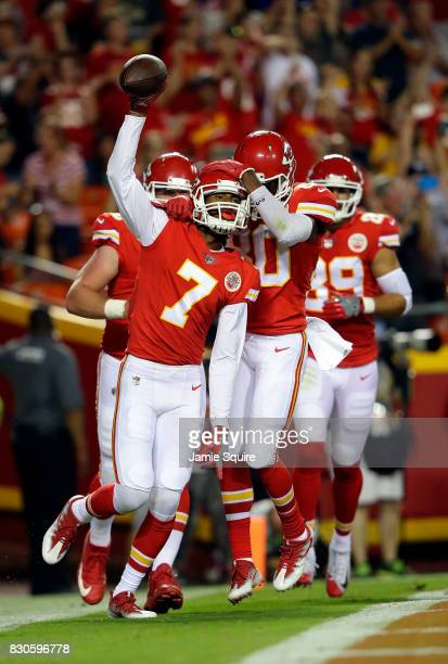 Wide receiver Marcus Kemp of the Kansas City Chiefs celebrates after making a catch for a touchdown during the preseason game against the San...