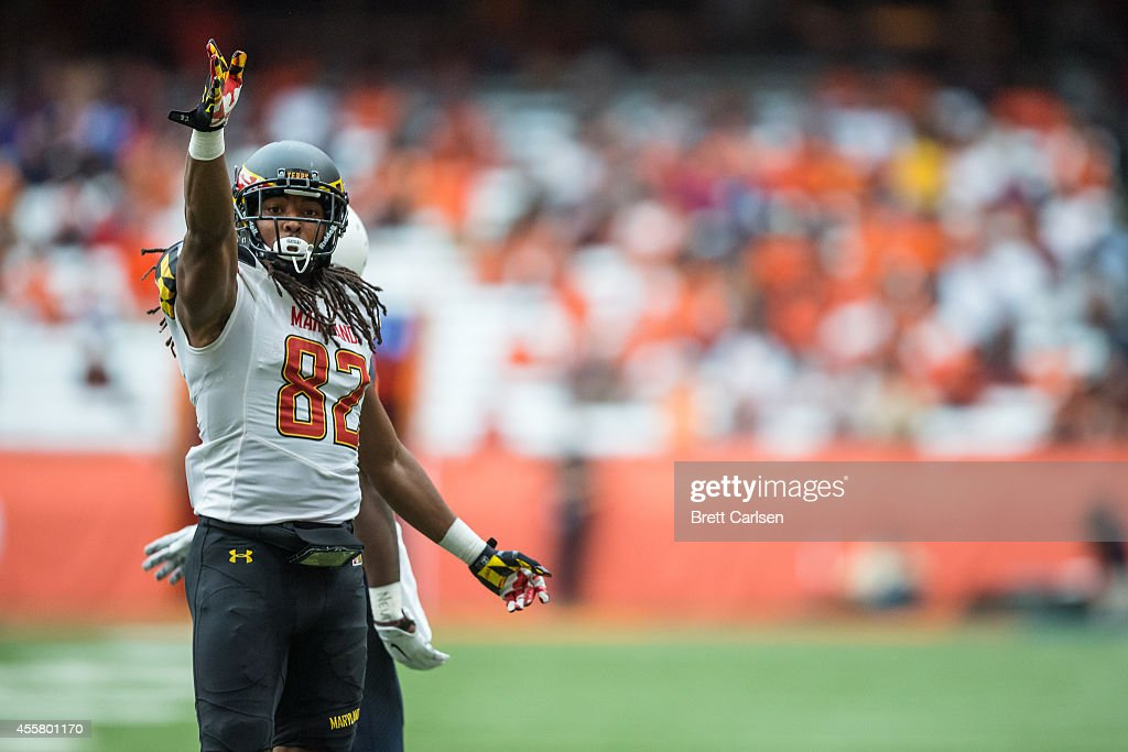 Wide receiver Marcus Leak #82 of the Maryland Terrapins celebrates a big first down reception during the second quarter against the Syracuse Orange on September 20, 2014 at The Carrier Dome in Syracuse, New York. Maryland defeats Syracuse 34-20.