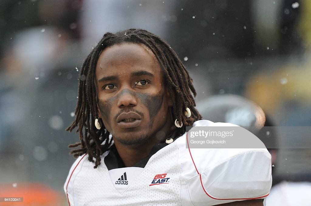 Wide receiver Mardy Gilyard #1 of the University of Cincinnati Bearcats looks on from the field before a Big East college football game against the University of Pittsburgh Panthers as snow falls at Heinz Field on December 5, 2009 in Pittsburgh, Pennsylvania. Cincinnati defeated the Pitt Panthers 45-44.
