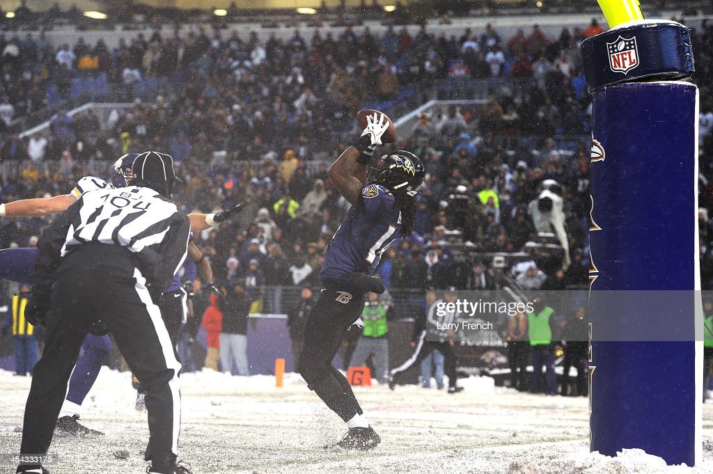 Wide receiver Marlon Brown #14 of the Baltimore Ravens makes the winning catch against the Minnesota Vikings at M&T Bank Stadium on December 8, 2013 in Baltimore, Maryland. The Ravens defeated the Vikings 29-26.