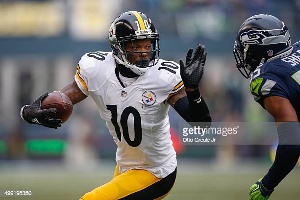 Wide receiver Martavis Bryant of the Pittsburgh Steelers rushes against cornerback DeShawn Shead of the Seattle Seahawks at CenturyLink Field on...