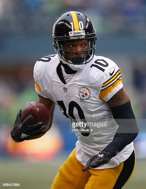 Wide receiver Martavis Bryant of the Pittsburgh Steelers rushes against the Seattle Seahawks at CenturyLink Field on November 29 2015 in Seattle...