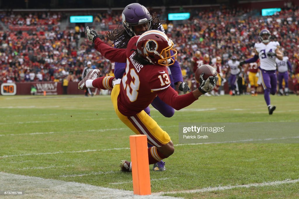 Wide receiver Maurice Harris #13 of the Washington Redskins catches a touchdown past cornerback Trae Waynes #26 of the Minnesota Vikings during the first quarter at FedExField on November 12, 2017 in Landover, Maryland.