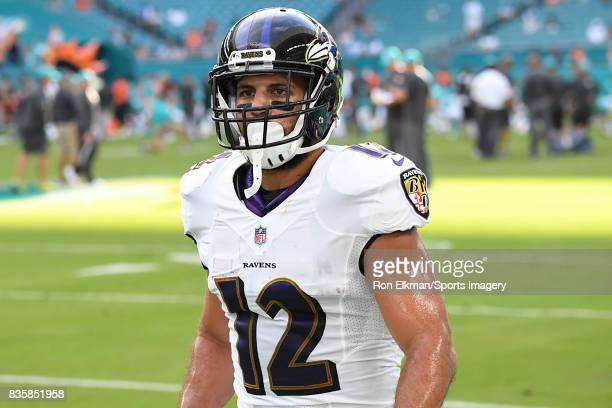 ... Wide receiver Michael Campanaro of the Baltimore Ravens looks on before  a preseason game against the Nike Bronson Kaufusi Baltimore Ravens Elite ... 42c6f3781