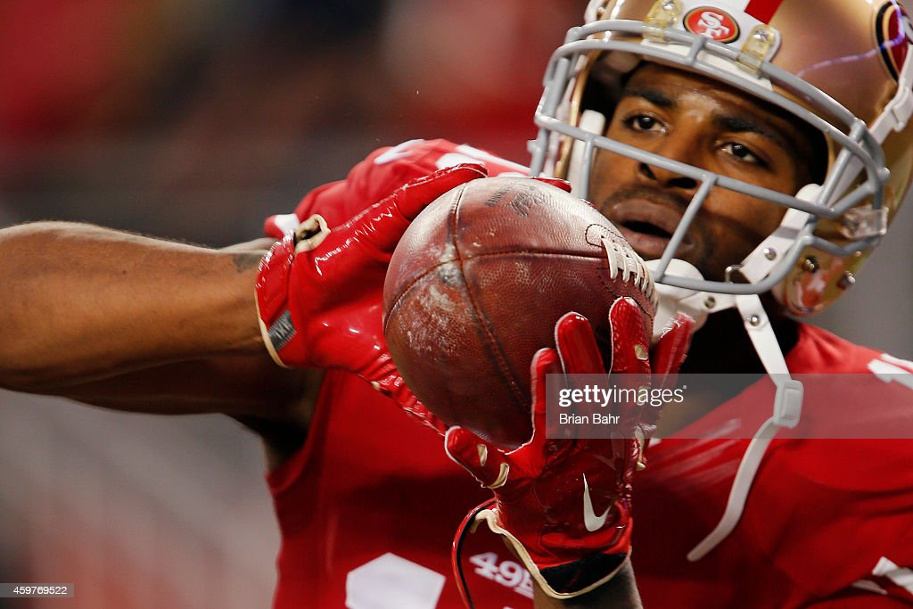 Wide receiver Michael Crabtree of the San Francisco 49ers catches a pass before a game against the Seattle Seahawks on November 27 2014 at Levi's...