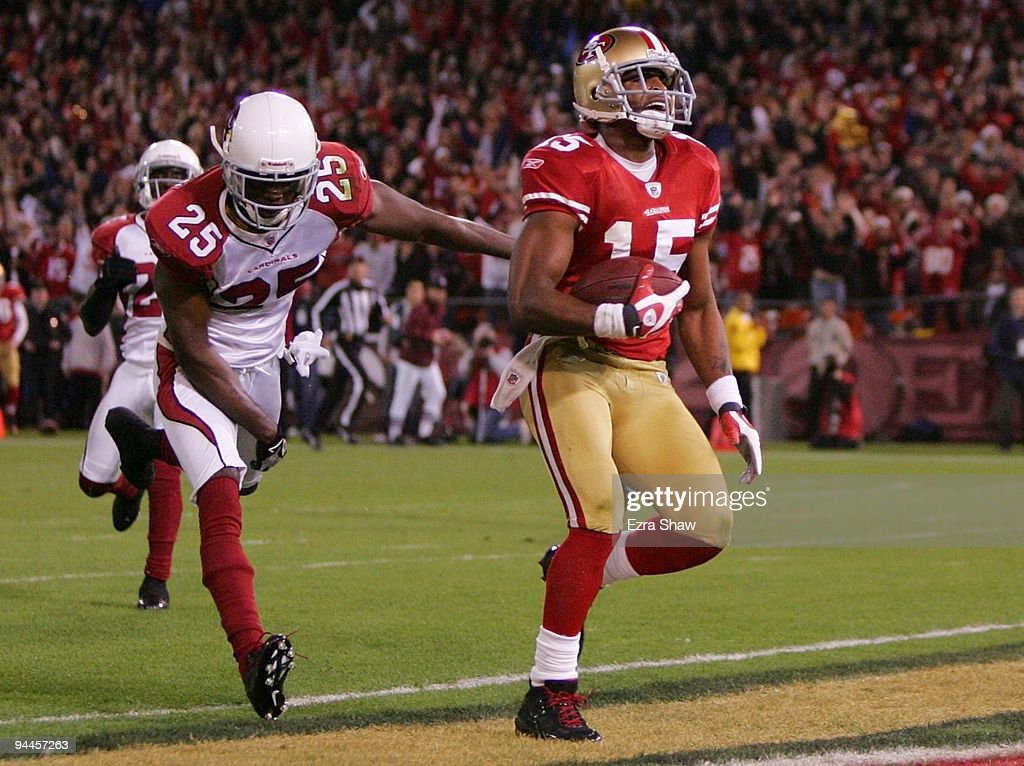 Wide receiver Michael Crabtree of the San Francisco 49ers scores a touchdown in the first half against the Arizona Cardinals at Candlestick Park on...