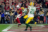 Wide receiver Michael Floyd of the Arizona Cardinals makes a touchdown catch for nineyards against cornerback Casey Hayward of the Green Bay Packers...