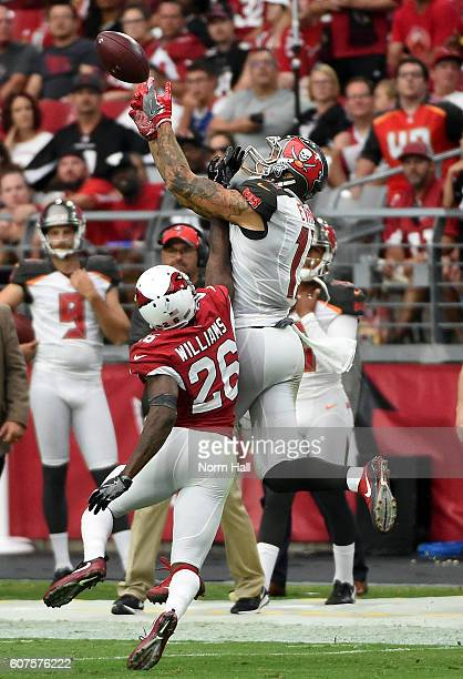 Wide receiver Mike Evans of the Tampa Bay Buccaneers makes a catch over cornerback Brandon Williams of the Arizona Cardinals during the fourth...