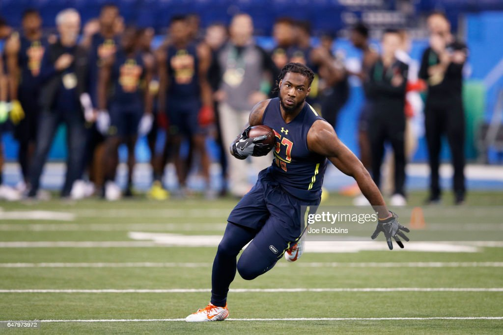 Wide receiver Mike Williams of Clemson runs after catching a pass during day four of the NFL Combine at Lucas Oil Stadium on March 4, 2017 in Indianapolis, Indiana.
