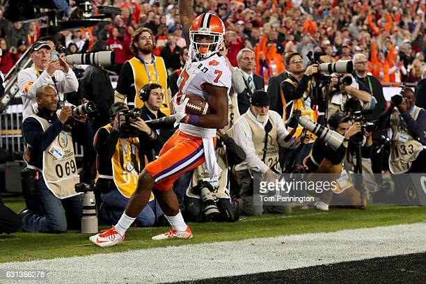 Wide receiver Mike Williams of the Clemson Tigers celebrates after scoring a 4yard touchdown during the fourth quarter against the Alabama Crimson...