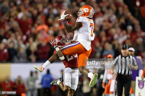 Wide receiver Mike Williams of the Clemson Tigers makes a reception against defensive back Anthony Averett of the Alabama Crimson Tide during the...