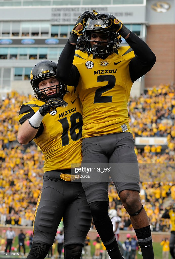 Wide receiver Nate Brown #2 of the Missouri Tigers celebrates his touchdown with Wesley Leftwich #18 during a game against the South Carolina Gamecocks in the first quarter at Memorial Stadium on October 3, 2015 in Columbia, Missouri.