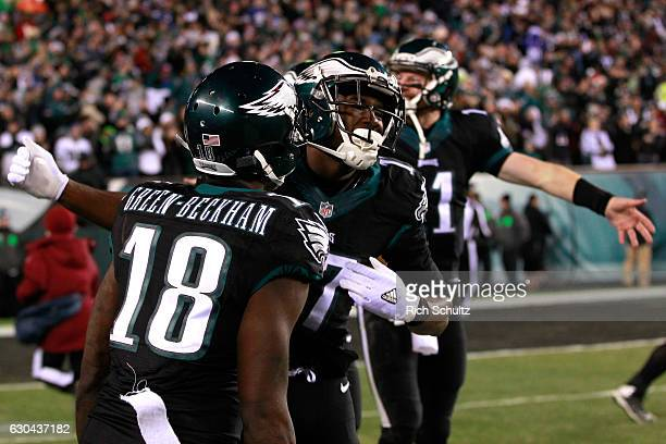 Wide receiver Nelson Agholor of the Philadelphia Eagles celebrates with his teammates after scoring a 40 yard touchdown against the New York Giants...