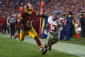 Wide receiver Odell Beckham of the New York Giants scores a fourth quarter touchdown past cornerback Will Blackmon of the Washington Redskins at...