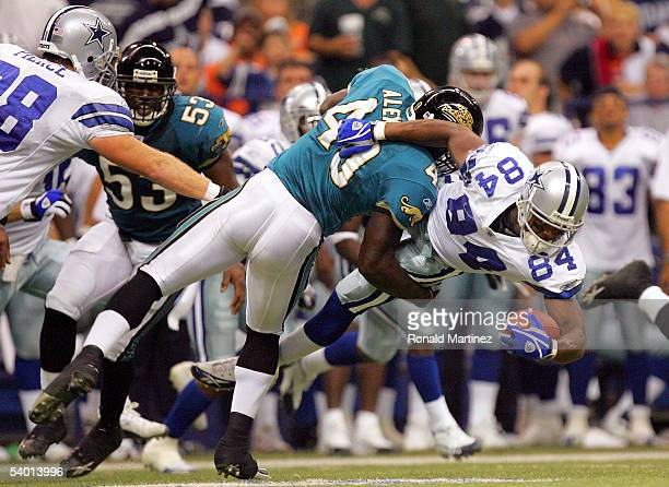 Wide receiver Patrick Crayton of the Dallas Cowboys is tackled by Rich Alexis of the Jacksonville Jaguars on September 1 2005 at Texas Stadium in...