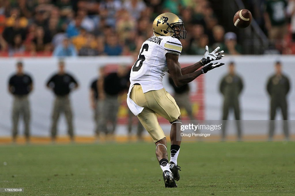 Wide receiver Paul Richardson of the Colorado Buffaloes makes a 75 yard pass reception for a 75 yard touchdown in the fourth quarter as the Buffs...