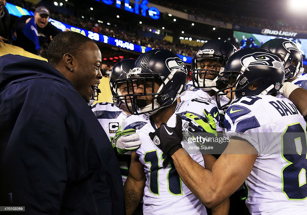 Wide receiver <a gi-track='captionPersonalityLinkClicked' href=/galleries/search?phrase=Percy+Harvin&family=editorial&specificpeople=3061663 ng-click='$event.stopPropagation()'>Percy Harvin</a> #11 of the Seattle Seahawks celebrates his 2nd half kickoff return during the third quarter of Super Bowl XLVIII at MetLife Stadium on February 2, 2014 in East Rutherford, New Jersey.