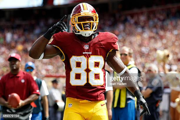 Wide receiver Pierre Garcon of the Washington Redskins celebrates a second quarter touchdown during a game against the St Louis Rams at FedExField on...