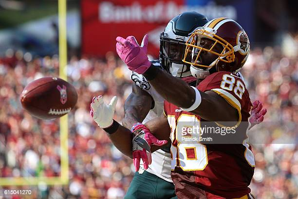 Wide receiver Pierre Garcon of the Washington Redskins misses a catch while free safety Jalen Mills of the Philadelphia Eagles defends in the third...