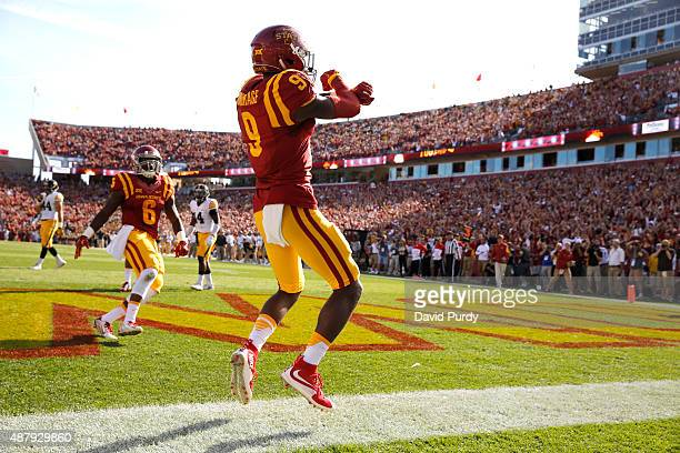Wide receiver Quenton Bundrage of the Iowa State Cyclones celebrates after scoring a touchdown in the first half of play against the Iowa Hawkeyes at...