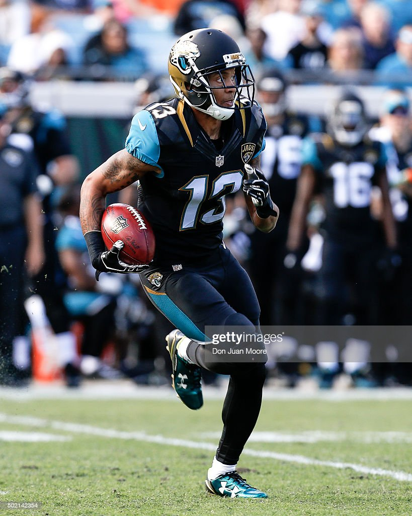 Wide Receiver <a gi-track='captionPersonalityLinkClicked' href=/galleries/search?phrase=Rashad+Greene+-+American+Football+Player&family=editorial&specificpeople=13970375 ng-click='$event.stopPropagation()'>Rashad Greene</a> #13 of the Jacksonville Jaguars returns a punt during the game against the Atlanta Falcons at EverBank Field on December 20, 2015 in Jacksonville, Florida. The Falcons defeated the Jaguars 23-17.