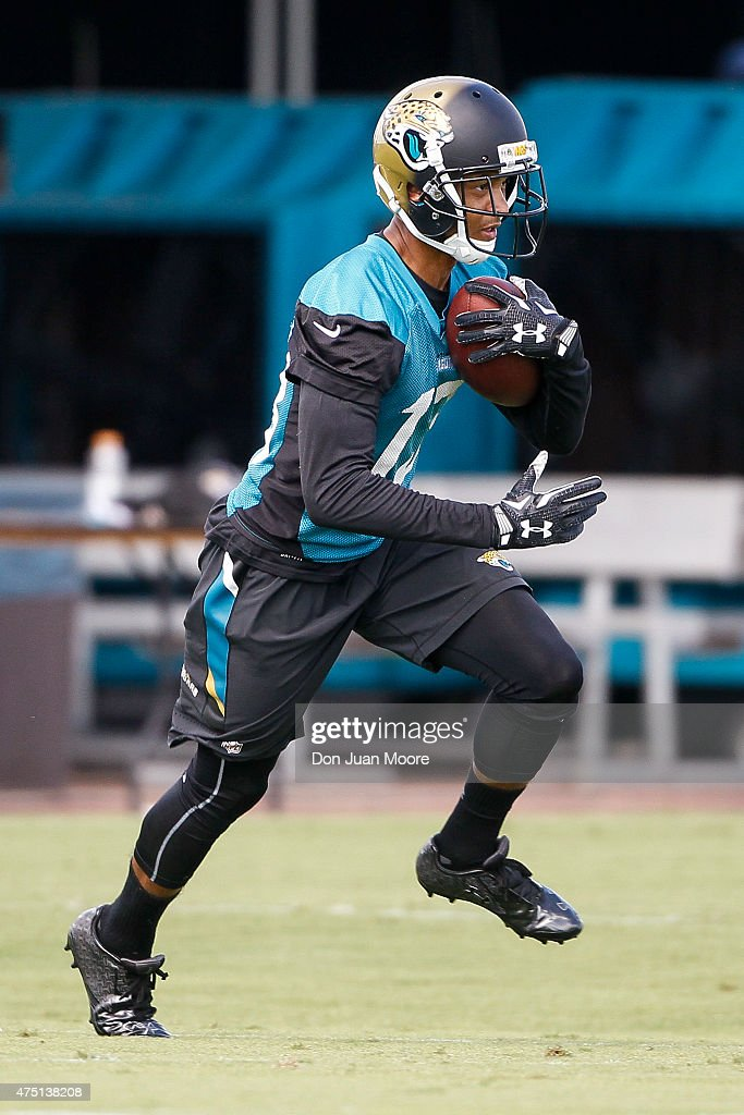 Wide Receiver <a gi-track='captionPersonalityLinkClicked' href=/galleries/search?phrase=Rashad+Greene+-+American+Football+Player&family=editorial&specificpeople=13970375 ng-click='$event.stopPropagation()'>Rashad Greene</a> #13 of the Jacksonville Jaguars works out during OTA's at Everbank Field Stadium at the Florida Blue Health and Wellness Practice Fields on May 27, 2015 in Jacksonville, Florida.