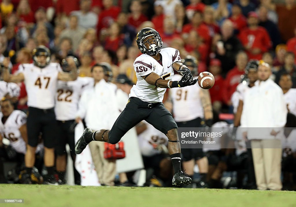 wide receiver Rashad Ross #15 of the Arizona State Sun Devils is unable to catch a long pass during the fourth quarter of the college football game against the Arizona Wildcats at Arizona Stadium on November 23, 2012 in Tucson, Arizona. The Sun Devils defeated the Wildcats 41-34.