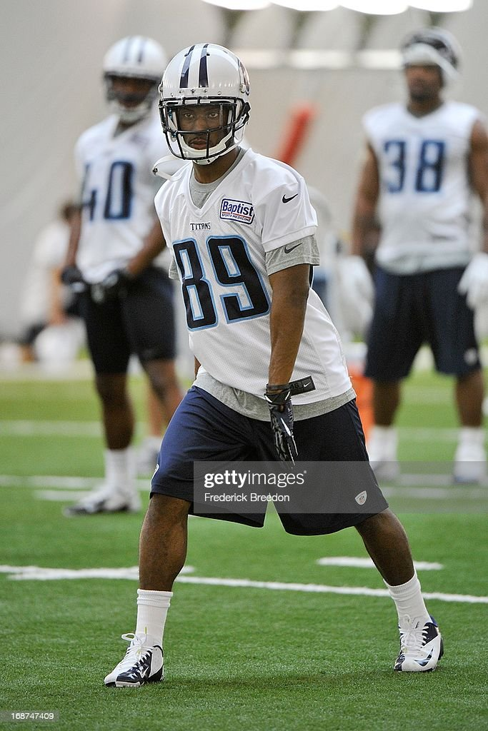 Wide receiver Rashad Ross #89 of the Tennessee Titans attends rookie camp on May 10, 2013 in Nashville, Tennessee.