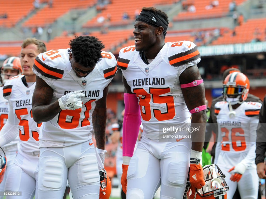 Wide receiver Rashard Higgins #81 and tight end David Njoku #85 of the Cleveland Browns dance as they walk off the field prior to a game on October 8, 2017 against the New York Jets at FirstEnergy Stadium in Cleveland, Ohio. New York won 17-14.