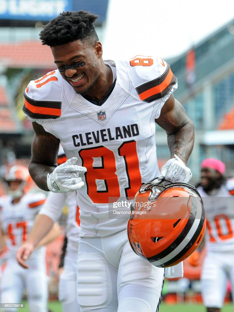 ... NFL Jersey Wide receiver Rashard Higgins 81 of the Cleveland Browns  smiles as he walks off the ... 83575da6b