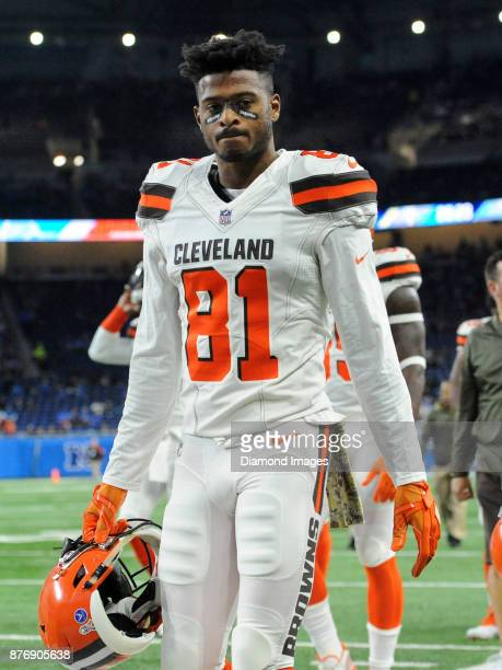Wide receiver Rashard Higgins of the Cleveland Browns walks off the field prior to a game on November 12 2017 against the Detroit Lions at Ford Field...