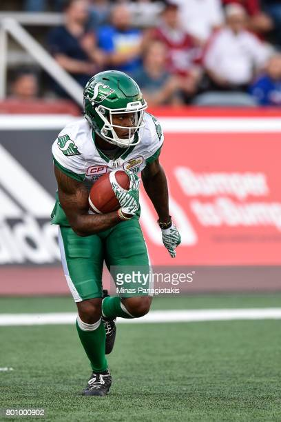 Wide receiver Ricky Collins Jr #3 of the Saskatchewan Roughriders runs with the ball against the Montreal Alouettes during the CFL game at Percival...